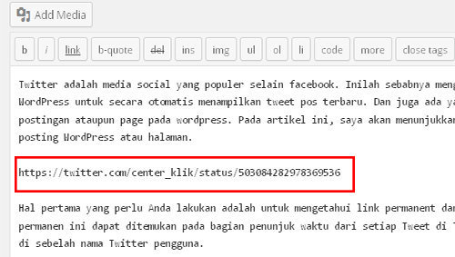 CARA MENGEMBED TWEET DI POST ATAUPUN PAGE WEB WORDPRESS